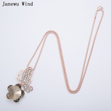 Janewu Wind rose gold color popcorn chain Butterfly in love with flowers Pendant Crystal Necklace women