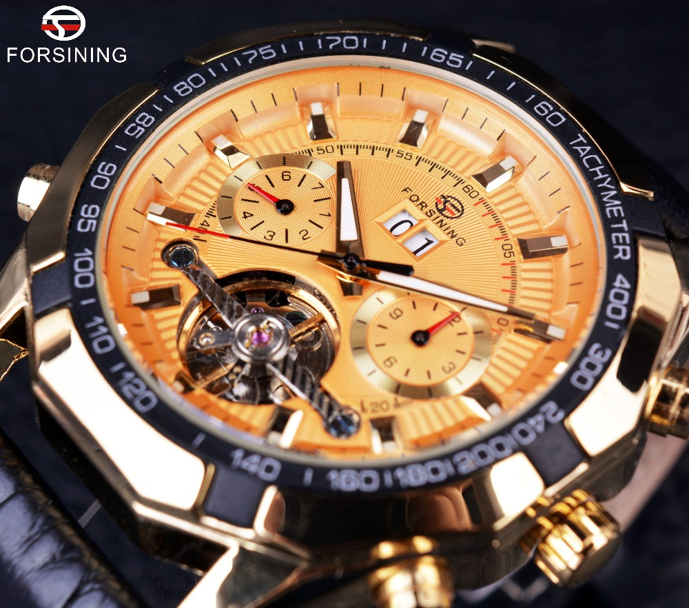Forsining Full Golden Dial Tourbillon Design Genuine Leather Strap Mens Watches Top Brand Luxury Mens Automatic Sport Watches<br>