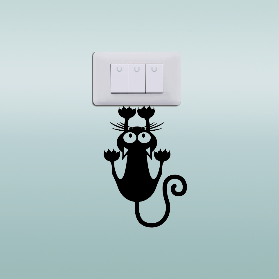 Creative Cat Hanging On Light Switch Sticker Wall Decal Creative Cat Hanging On Light Switch Sticker Wall Decal HTB1OM19SpXXXXc1XpXXq6xXFXXXg