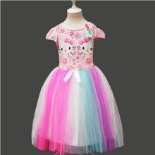 2017 Summer Baby Girl Dresses Princess Children Dress Rainbow Hello Kitty Cute Baby Clothing Kids Girl Dress Casual Clothes