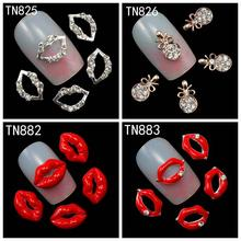 10Pcs/Pack Rhinestones Nails Studs (Silver Lips,Red Lips,Necklace Pendant) 3D Nail Art Decorations Glitters Nail Tools