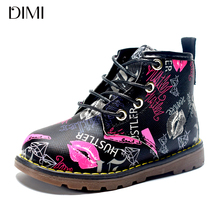 DIMI 2018 New Kids Boots Girls Leather Martin Boots Fashion Brand Children Boys Boots Waterproof Ankle Baby Boots Shoes For Girl(China)
