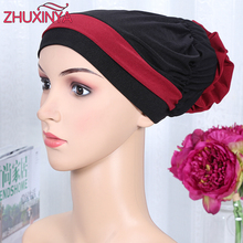 12 colors Islamic Scarves Wraps Hijab caps Women Muslim All Inclusive Cap Curved Optional Women Flower Muslims Hat Headband