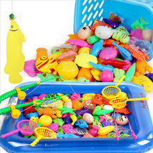 25pcs/Set Magnetic Fishing Toy Game 1 Rod 1 net 12 3D Fish Baby Kids Bath Toys Child Model Play Fishing Games Outdoor Fun(China)