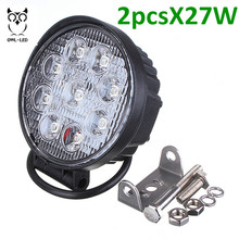 2pcs Hot selling round headlight motorcycle 27w led work light  24 volt forklift lights for truck, excavator