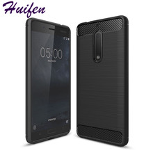 2017 Super rugged armor cover for Nokia 5 case Slim Hybrid Carbon Fiber Texture Brushed Silicone caus Nokia5 phone case (L92)(China)