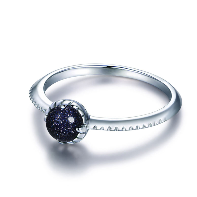 100-925-Sterling-Silver-Vintage-Solitaire-Round-Natural-Stone-Blue-Sand-Sun-Ring-for-Women-Fine