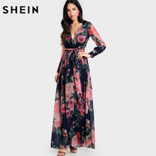 SHEIN Multicolor Rose Print Cuffed Long Sleeve Belted Wrap Dress Deep V Neck A Line Maxi Dress Elegant Long Sexy Dresses(China)