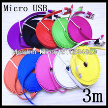 5pcs/lot 3M Noodle flat color USB Micro cable for HTC &Samsung Galaxy S3 S2& Nokia& LG &Sony+China post office shipping