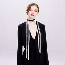 100% Silk Fashion Ribbon Double face Scarf,Cool Sexsy Neckerchief Women,Classic lBlack & White, Use on waist,hair,hat or handbag