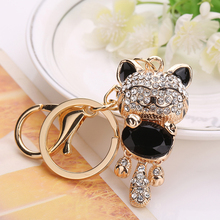 Lucky Smile Cat Crystal Rhinestone Key-rings Purse Bag Key-chains for Car Christmas Gift Holder Jewelry Accessory chaveiro 2017