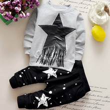 2016 New arrival baby boy winter clothing set printing star dot boy's cotton cheap brand kids tassle tddloer clothes  sets