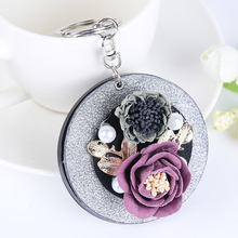 Fashion Cute Delicate Pearl Flower Folding Cosmetic Mirror Keychain Portable Metal Keyring Women Bag Purse Charm Pendant Gift(China)