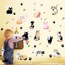 Wall post ambry manufacturer wholesale new cartoon cat combination wall bedroom decorates a wall(China)