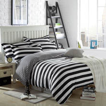 Fashion 3D Printed Black White Stripe Bedding Sets Single/Twin/Full/Queen Size Duvet Cover Adult/Boy Decor 4pc Bedspread 400TC