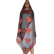 Newest African women scarfs ,Muslim Plain Embroidery net women scarf, Black red women scarf  Big scarf suit for Shawls Wraps