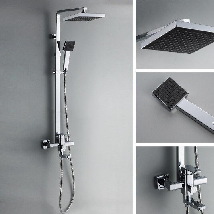 Chrome Finish Square Bathroom Shower Column Units Shower Faucet Mixer W/ Handheld Shower<br><br>Aliexpress