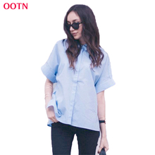 OOTN Button Cotton Blouse Women Business Chiffon Work Clothing Light Blue Casual Blouses 2017 Summer Tops Fashion Loose Solid(China)