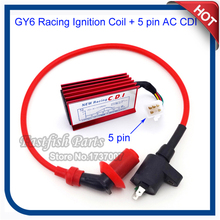 GY6 Racing Ignition Coil & AC CDI 5 pin For XR CRF 50 Dirt Pit Bike 110cc 125cc Engine GY6 Motorcycle Motocross
