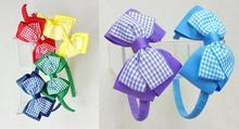20pcs girl gingham plaid hair bows with hard hairbands ribbon lined fully wrapped Plastic head bands headwear accessories FJ3149