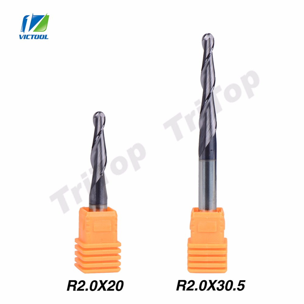 2pcs/lot R2.0*D6*20*50L+30.5*75L solid carbide 6mm Ball Nose Tapered End Mills router bits cnc taper wood metal milling cutter<br><br>Aliexpress