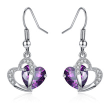 FWORLD Popular cubic zircon crystal heart drop earrings silver color micro paved CZ heart hanging earring for girl 2 color E-043