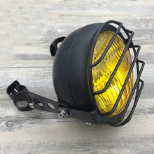 "Retro Grill Headlight Motorcycle Fork Mount Cover Mask Adapter 27-36mm Vintage Harley Headlight Bullet 6.5"" Cafe Racer Light"