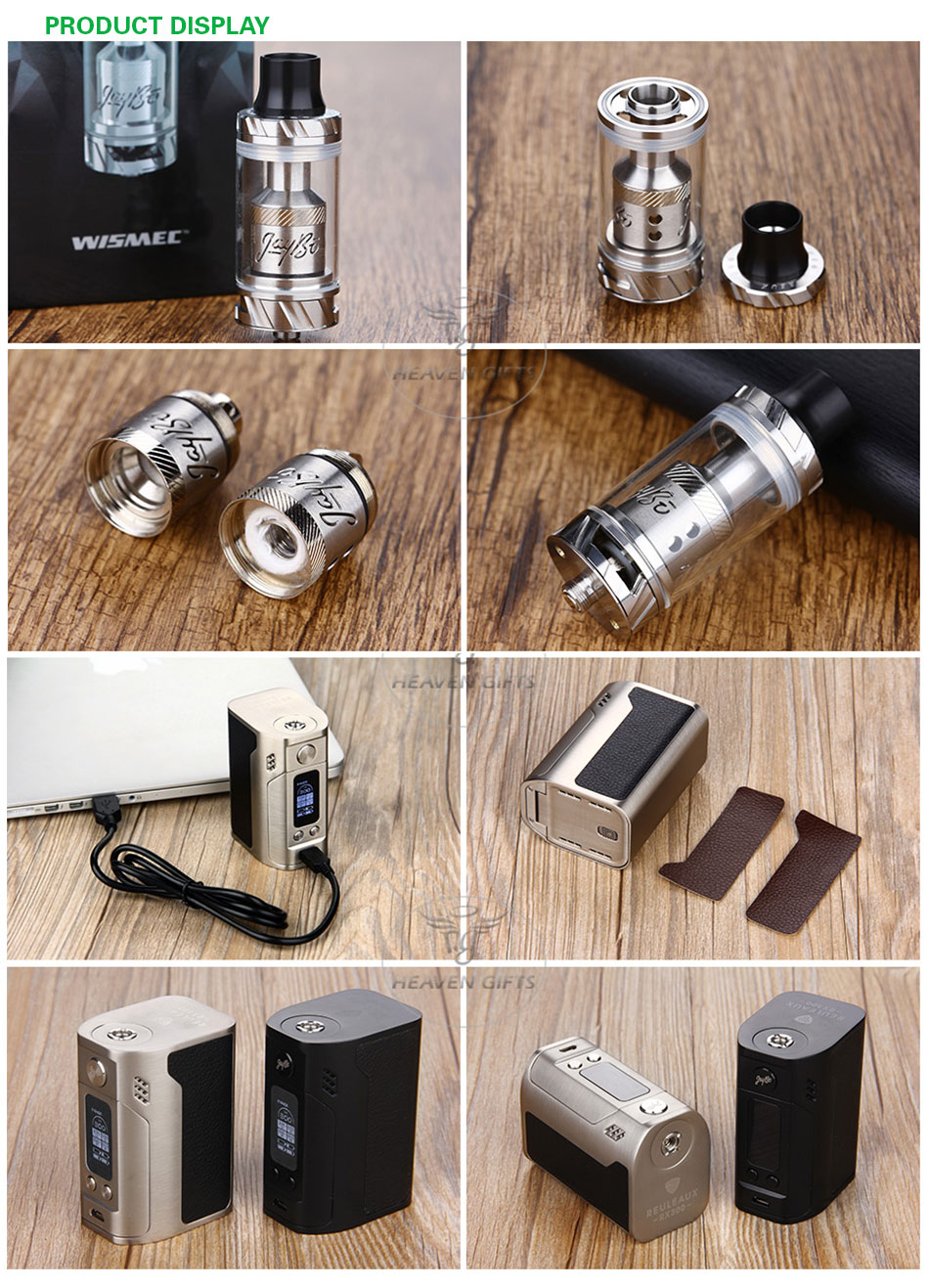 Original 300W WISMEC RX300 TC Vape Kit with Reux Atomizer Tank 6ml with RX300 TC BOX Mod No 18650 Battery Electronic Cigarette