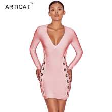Buy ARTICAT Criss Cross Summer Bandage Dress Women 2017 Sexy Deep V Neck Long Sleeve Bodycon Dresses Party Club Mini Dress Vestidos for $13.99 in AliExpress store