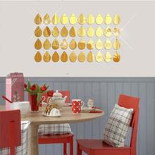 50Pcs 3D Mirror Raindrop Vinyl Removable Wall Sticker Decal Home Decor Art DIY baby room wallpaper for kids room door sticker