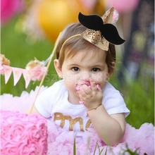 Sweet Baby Girls Boys Moustache Glitter Gold Crown Kids Birthday Party Cone Hat Cap Headband Hair Accessory