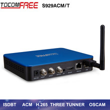 2017 Best sale FTA satellite TV receiver S929ACM/T support three tuners work with DVB-S2 Twin and ISDBT for Brazil Chile Peru