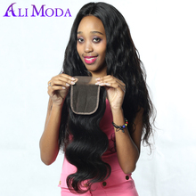 Ali Moda Hair Peruvian Body Wave 4x4'' Swiss Lace Closure with Baby Hair Human Hair Closure 130% Density Remy Hair