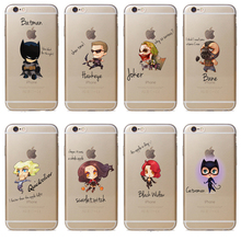 Q Version Marvel Avengers Phone Case for iPhone 7 7plus 6 6s 6plus Samsung S6 S7 TPU Back Case Batman Spider Thor Phone Cover