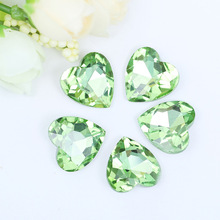 Factory sales!! Light green flatback heart Crystal glass Rhinestones DIY Apparel accessories 20pcs/pack(China)
