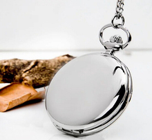 New Fashion Silver/Bronze/black/Gold Polish Smooth Quartz Pocket Watch Jewelry Alloy Chain Pendant Necklace Man Women's Gift
