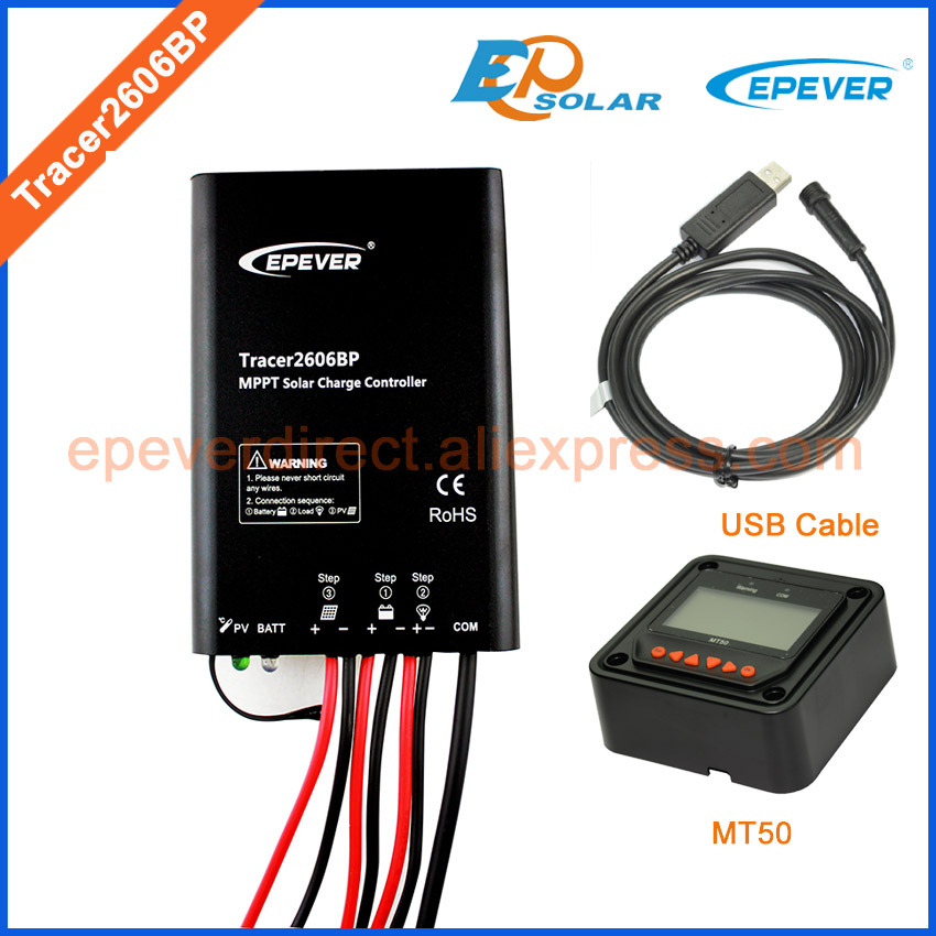 tracer mppt new series Tracer2606BP solar power regulator USB cable PC communication MT50 remote meter 10A 10amp<br>