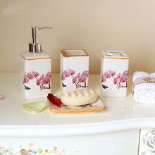 European Style Ceramic Bathroom Sets Toothbrush Holder, Cup, Soap Dishes, Creative Ceramic Bathroom Lotion Bottle 4 in 1