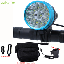 Walkfire Waterproof Bike Light Headlamp 20000 lumens 12 x XML T6 LED Bicycle Cycling Head Light + 18650 Battery Pack +Charger()