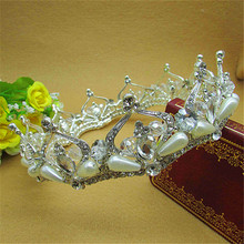 high-grade pearl rhinestone round crown wedding hair accessories quinceanera headpiece large crown