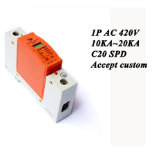 Hot sale C20-1P 10KA~20KA ~420V AC SPD House Surge Protector Protective Low-voltage Arrester Device Lightning protection