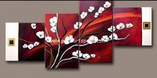 Free shipping! Group abstract flower white plum blossom modern Flora oil painting 4 panels wall art frameless