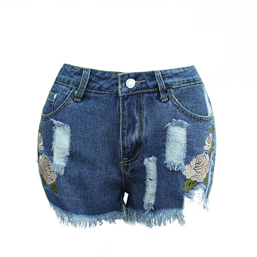 Europe Summer New Fashion 3D Short Jeans with Embroidery Flower Ripped Jeans for Women High Waist Slim Denim Shorts Pockets 2XL Одежда и ак�е��уары<br><br><br>Aliexpress