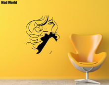 Mad World-Beautiful Sexy Woman Long Hair Beauty Wall Art Stickers Wall Decal Home DIY Decoration Removable Decor Wall Stickers