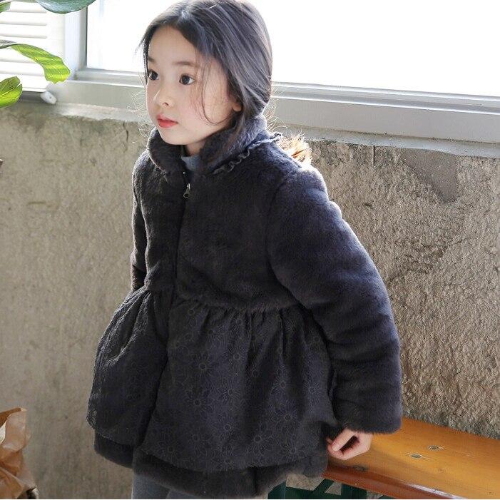 Kids 2015 new winter fur coat imitation rabbit fur coat big virgin cotton lace cotton jacket<br>