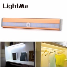 Home Kitchen 10 LEDs PIR Infrared Motion Sensor Closet Cabinet Light Lamp Wireless Using AAA Battery Lights for Home Night Lamp(China)