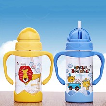 Durable Baby Diaper Kids Straw Cup Drinking Bottle Sippy Cups With Handles Cute Design Feeding Bottle PP Plastic SGS 400ML(China)