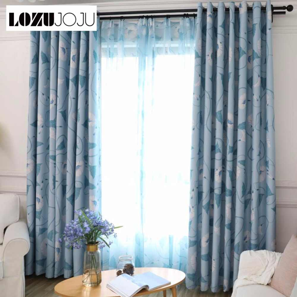 LOZUJOJU Green leaves floral jacquard blackout curtains organza tulle set for living room bedroom windows blue drapery thick