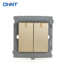 CHINT Wall Plate Switch 86 Type Wall Switch Socket Light Champagne Gold Five Hole Two Gang Two Way(China)