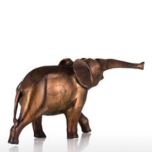 Tooarts Elephant Sculpture Blue Gold Tiny Elephant Bronze Sculpture Copper Decoration Tabletop for Home Ornaments(China)